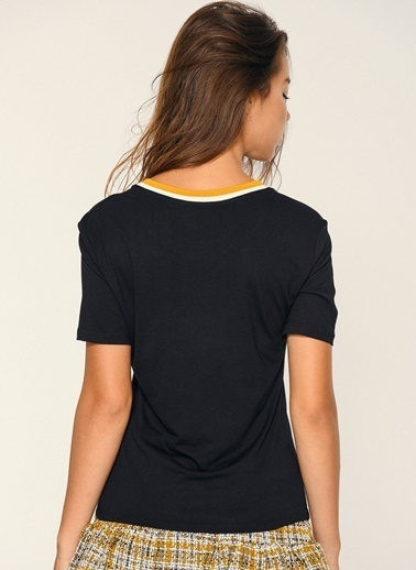 Loves You Triko Bantlı T-Shirt Siyah